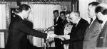 photo - Ambassador Rolf Pauls of Germany presents his credentials to Israeli president Zalman Shazar on Aug. 19, 1965