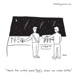 """cartoon - """"Here's the control panel. That's where we make lattés,"""" by Jacob Samuel"""