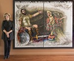 "photo - Lilian Broca with the diptych ""Judith Meeting Holofernes,"" part of the Heroine of a Thousand Pieces: The Judith Mosaics of Lilian Broca exhibit that opens at Il Museo on Nov. 12"