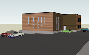 photo - An artist's rendering of the new Centre for Jewish Life and Learning. The building's east wall, facing a main street, will feature a permanently illuminated menorah