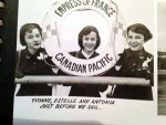 photo - Weston Girls Estelle Sures, 17, centre, with Yvonne Harris, left, and Toni MacDonell before they set sail in 1953