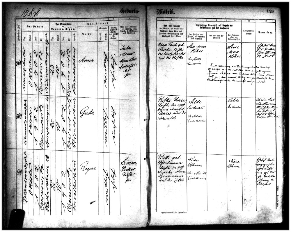 "image - The author's grandmother's birth certificate from Czernowitz in 1902, which shows that Regina Picker's mother, Betty (""Betti""), had been born a Brotman (""Brutmann""). It also shows that Regina's father, Betty's husband, Simon Picker, was a carpenter"