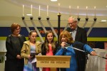 photo - Surrey Mayor Linda Hepner, left, White Rock Mayor Wayne Baldwin and Simie Schtroks of the Centre for Judaism present the 2015 Young Lamplighters Award to Sarah and Amy Aginsky on Dec. 13