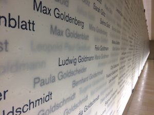 "photo - The ""Corridor of Remembrance"" inside Ohel Jakob commemorates the 4,587 Munich Jewish citizens murdered by the Nazis"