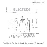 "cartoon by Jacob Samuel - ""And, finally, I'd like to thank the minorities I demonized"""