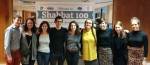 photo - Among the many Shabbat 100 volunteers were, from left to right, Ben Felstein (Chabad Jewish Student Club and Israel on Campus), Daniella Malpartida (Jewish Students Association), Anna Kapron-King (Progressive Jewish Alliance), Lior Bar-el (JSA and PJA), Michelle Levit (CJSC), Sydney Switzer (CJSC), Katrin Zavgorodny (CJSC board), Jennifer Brodsky (CJSC) and Becca Recant (Hillel BC)