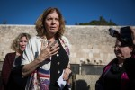 photo - Anat Hoffman, leader of Women of the Wall, speaks with members of the media near the Western Wall on Jan. 31, reacting to the Israeli government's passage of a new plan on egalitarian prayer rights at the Jewish holy site