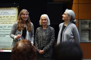 photo - Holocaust educators at UVic, left to right, Dr. Helga Thorson, chair, Germanic and Slavic studies department; history professor Dr. Kristin Semmens; and Dr. Charlotte Schallié, co-chair of the European Studies Program