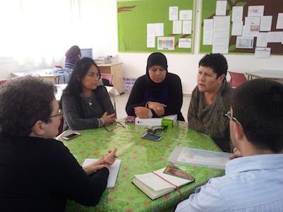 photo - Esti Halperin, Merchavim Institute chief executive officer, is the woman on the right