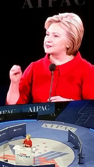 photo - At AIPAC, Democrat frontrunner Hillary Clinton advised a three-pronged approach to global security, focusing on Iran, extremism and the attempts to delegitimize Israel