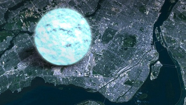 photo - A satellite picture of the island of Montreal with an illustration of a neutron star for comparison. While relatively small, neutron stars are so dense that just one teaspoon would weigh about a billion tons