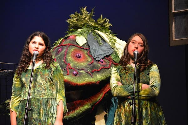 photo - Audrey II, played by Alisa Bressler and Hannah Marliss
