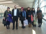 photo - Shavei Israel founder and chair Michael Freund greeted the five women from Kaifeng – left to right, Gao Yichen, Li Chengjin, Li Yuan, Yue Ting and Li Jing – at Ben-Gurion Airport on Feb. 29