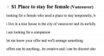screenshot - Recently published ads for apartment rentals in Vancouver on online bulletin board Craigslist