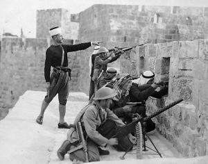 photo - Arab fighters on the walls of the Tower of David