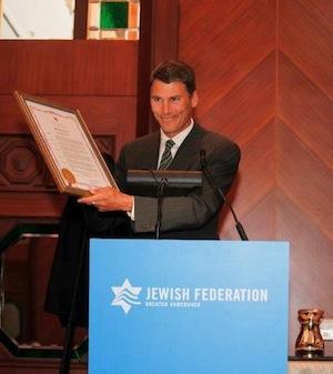 photo in Jewish Independent - Vancouver Mayor Gregor Robertson declares Sept. 10, 2012, Elie Wiesel Day