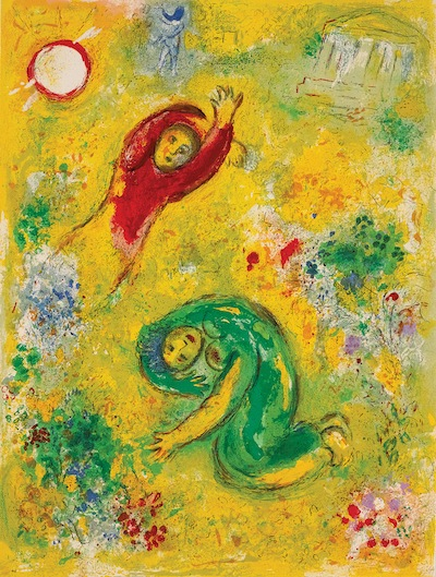 "image - Marc Chagall, ""The Trampled Flowers / Les fleurs saccagées"" (detail), circa 1956-1961, printed in 1961"