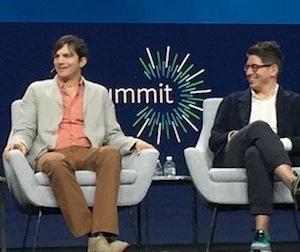 photo - Aston Kutcher with Yancey Strickler of Kickstarter