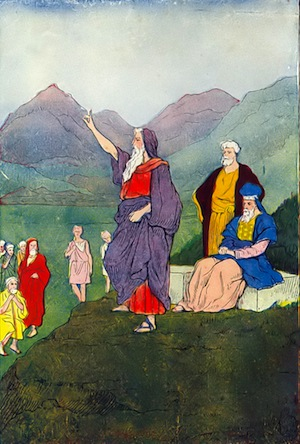 photo - Moses speaks to the Children of Israel.  An illustration from The Boys of the Bible by Hartwell James, published by Henry Altemus Company, 1905 and 1916
