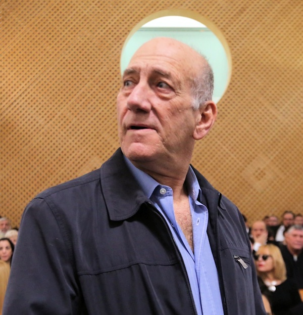photo - Former Israeli prime minister Ehud Olmert at the Supreme Court in Jerusalem following the court's decision to uphold his prison sentence