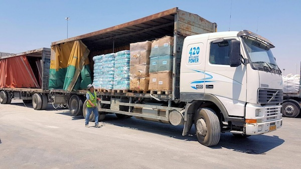 photo - Goods from Turkey enter the Shalom Crossing into Gaza with goods from Turkey. Recently, Turkey and Israel resumed normal diplomatic relations for the first time since the 2010 Mavi Mamara affair