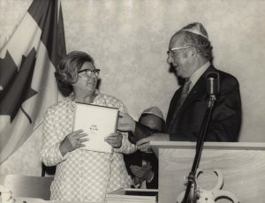 photo - B'nai B'rith, woman receiving an award, 1971