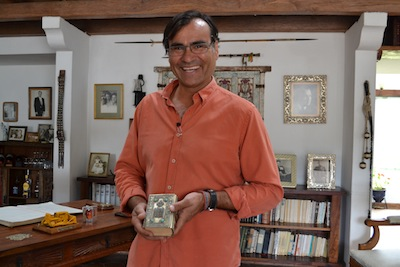 photo - Fernando Polanco, grandson of the late Ecuadorian president Galo Plaza Lasso, holds a Tanach given to his grandfather on a diplomatic visit to Israel in the 1970s