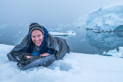 photo - Robin Esrock camping in Antarctica