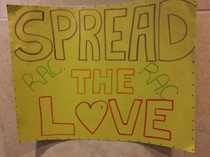 """photo - During RAC Week, heartwarming messages read """"Kindness is Contagious,"""" """"Spread the Love"""" and """"Smile! It's RAC Week!"""""""