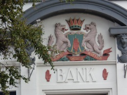 photo - Bangor Bank, adorned above its doorway with three Red Hands of Ulster