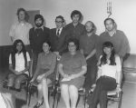 photo - A group of people at Hillel, 1970. Back row, left to right: unidentified, Richard Bass, Rabbi Marvin Hier, Bob Golden, unidentified, unidentified. Front row, left to right: unidentified, unidentified, unidentified, Hildy Groberman