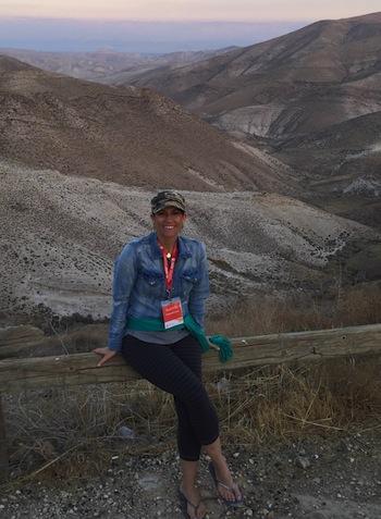 photo - Nicole Pollak at Eretz Bereshit, overlooking the Judean Desert