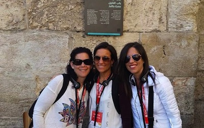 photo - Left to right, sisters Allyson Theodorou, Nicole Pollak and Melissa Jacks during a tour of the Old City, outside Jaffa Gate