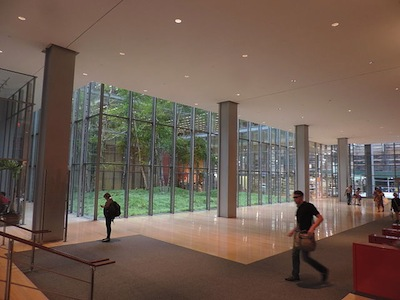 photo - Looking south at the New York Times atrium, which was designed by Cornelia Oberlander