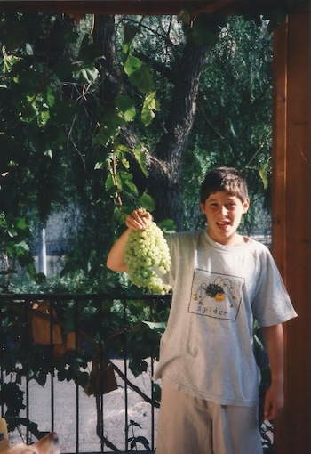 photo - Ilan Rubin Fields holds a cluster of grapes from the family's grapevine