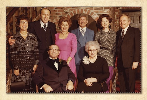 photo - A Congregation Schara Tzedeck testimonial evening in honour of Abrasha Wosk, 1977. Left to right are, in the back row, Joyce and Sonny Wosk, Esther and Hymie Aheroni, Rosalie and Joe Segal, and, in the front row: Abrasha and Chava Wosk