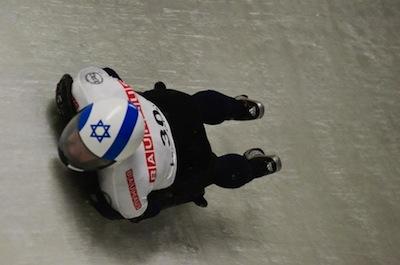Israeli skeleton athlete Bradley Chalupski in action