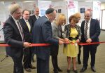photo - The ribbon-cutting at the launch of the Canadian Jewish Experience exhibit. From left to right: Dr. Mark Kristmanson of the National Capital Commission; Supreme Court Justice Michael J. Moldaver; Ottawa Police Chief Charles Bordeleau; Rabbi Reuven Bulka of Machzikei Hadas Synagogue; Catherine Bélanger, widow of the late member of Parliament Mauril Bélanger; Tova Lynch of CJE; Linda Kerzner of Jewish Federation of Ottawa; and Cantor Daniel Benlolo of Congregation Kehilat Beth Israel