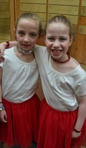 photo - The writer's daughter, Maya Aginsky, left, with friend Tamar Berger, both in Grade 2 at RJDS