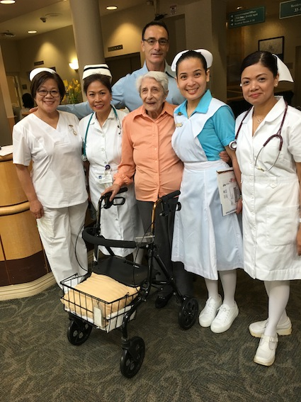 photo - Chief executive officer of Louis Brier Home and Hospital David Keselman with, left to right, Leonora Calingasan, Rebecca Fernandez, Flora Hayward, Nicole Encarnacion and Jennifer Belen