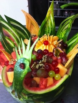 photo - Chef David Polivoda's sculpted fruit bowl