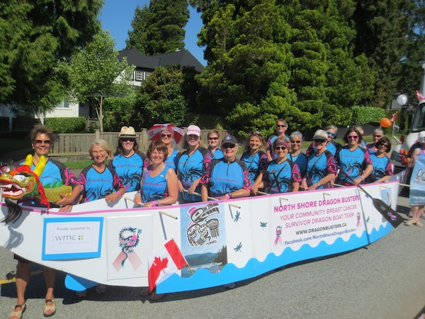 photo - The JI's Leanne Jacobsen (in the baseball cap) participated in the North Vancouver Canada Day Parade with her North Shore Dragon Busters teammates