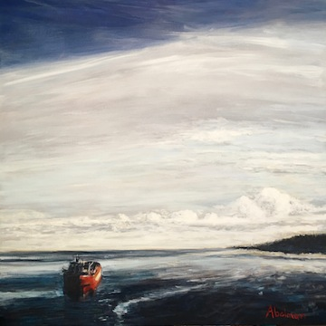 "image - ""Red Ship Entering Bay"" by Michael Abelman"