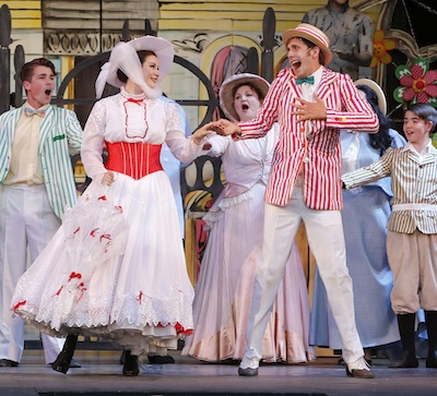 photo - Ranae Miller as Mary Poppins and Victor Hunter as Bert have a magical song and dance in the park