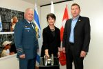 photo - Left to right, Canadian Defence Attaché Col. Tony Lovett, Canadian Ambassador to Israel Deborah Lyons and Israel Defence Forces Widows and Orphans chief executive officer Yuval Lipkin at a celebration last month marking the 150th anniversary of Canada at the Canadian embassy in Tel Aviv