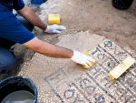 photo - A 1,500-year-old mosaic floor, with a Greek inscription, was discovered this summer following groundwork for a communications cable infrastructure near the Damascus Gate in the Old City of Jerusalem