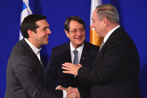 photo - December 2016, Jerusalem. Left to right: Greek Prime Minister Alexis Tsipras, Cypriot President Nicos Anastasiades and Israeli Prime Minister Binyamin Netanyahu hold historic tripartite talks to improve cooperation between the three eastern Mediterranean countries