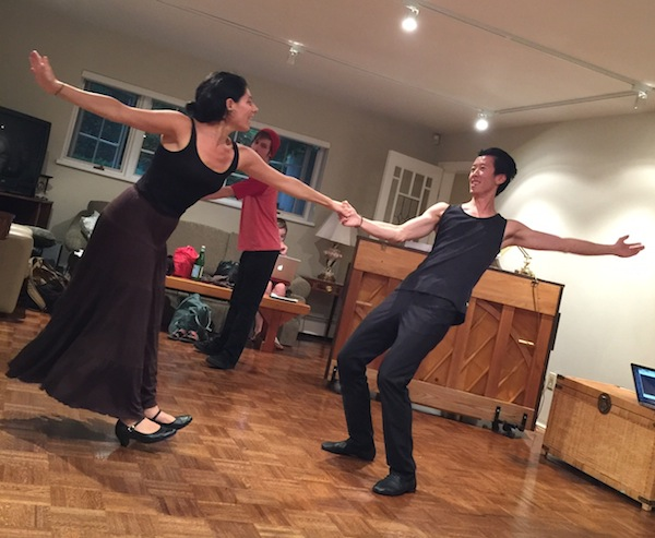 photo - Swinging Sylvia rehearsals: Advah Soudack and Sky Kao create a whirlwind of action in rehearsal of the second one-act play that comprises Two Views from the Sylvia