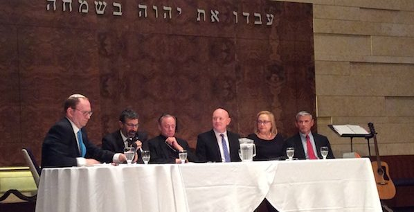 photo - Panelists at Congregation Beth Israel discuss the topic Our Leaders: Are They Above the Law?