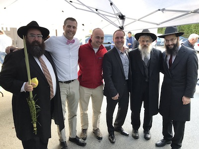photo - Rabbi Yechiel Baitelman, Michael Sachs, Jewish Federation of Greater Vancouver head Ezra Shanken, Mike Bernier, Rabbi Avraham Feigelstock and chief executive officer Rabbi Levi Varnai